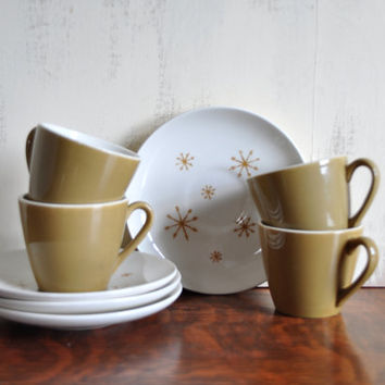 Set of Four Marcrest Star Glow Cups and Saucers, Vintage Atomic Teacups