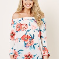 World Of Enchantment Ivory Print Off The Shoulder Top