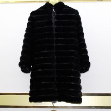 New brand lady leather mink coat thick coat winter coat natural black lady lady leather mink clothes fashion perfect