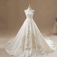 A-line Strapless Applique Beaded hollow out Cathedral wedding dress wedding gown
