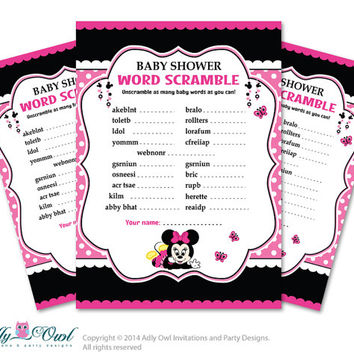 Girl Minnie Mouse Word Scramble Game, Guess Words, Unscramble the words Game  Minnie Mouse  Shower DIY Black Pink Polka- oz09bs45