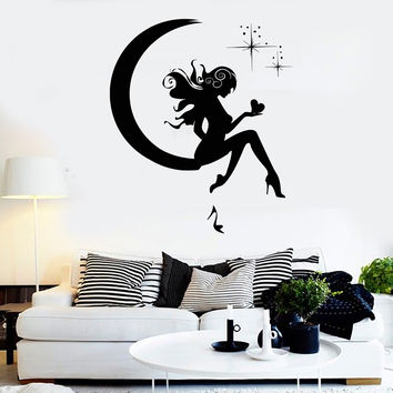 Wall Sticker Vinyl Decal Girl Fairy Moon Star Dreams Teen Decor  (z1082)