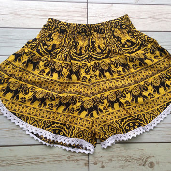 High waisted Lace Shorts Elephants Boho Print Summer Chic Fashion Trim Tribal Aztec Ethnic Clothing Bohemian Ikat Cloth Hobo Yellow Beach