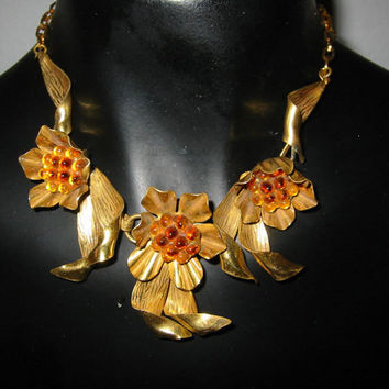 Brass Choker Orange Pulp Flower Necklace Link Chain