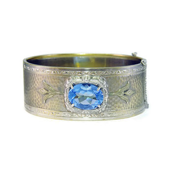 Art Deco Silver Rhodium Filigree Bangle Bracelet with Green Gold Leaves and Blue Glass