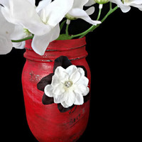 Painted Mason Jar, Glamorous Lipstick Red Vase, Decorated Tip Jar