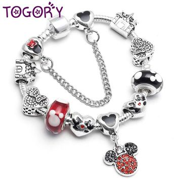TOGORY Authentic Mickey Minnie Pendants Charm Bracelet For Kids with Safety Chain Pandora Bracelet Best Gift Original Jewelry