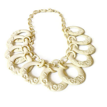 Art Deco Necklace Celluloid Early Plastic Ivory Cream Flower Statement Vintage Jewelry
