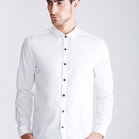 Contrast-Button Collared Shirt