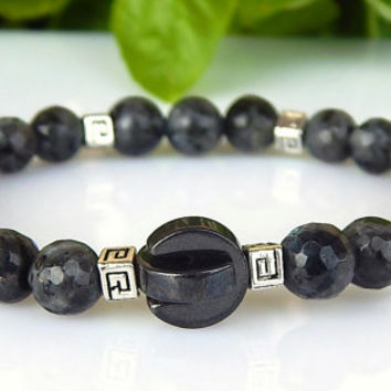 Men's Larvikite, Howlite and Magnetite bracelet, Men's Gemstone Bracelet, Protection Bracelet,