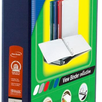 "BAZIC 1.5"""" Blue 3-Ring View Binder w/2-Pockets Case Pack 12"