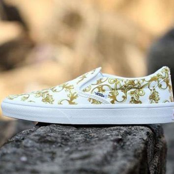 VONEO5 Vans Slip-On Print Old Skool Canvas Flat Sneakers Sport Shoes