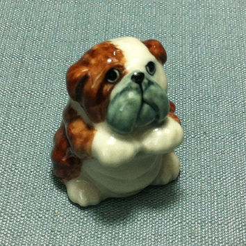 Miniature Ceramic Bulldog Sitting Dog Funny Cute Little Tiny Small Brown White Figurine Statue Decoration Collectible Hand Painted Figure