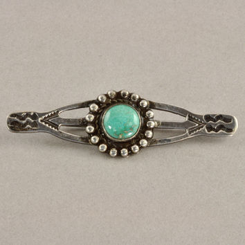 Vintage Navajo Jewelry - 1930s Silver Bar Pin - Stamped Design