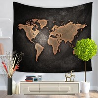 CAMMITEVER 130x150cm Wall Hanging World Map Tapestry Home Dorm Living Room Decoration Indian Mandala Throw Blanket Bedspread