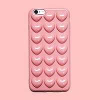 Pink Hearts 3D iPhone Case