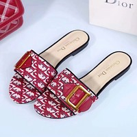 Dior Quake Oblique Canvas embroidered jacquard letters logo series sandals