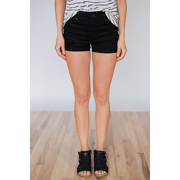 Kan Can Black Distressed Shorts