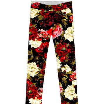 Put Your Crown On Lucy Back Floral Fancy Legging - Girls