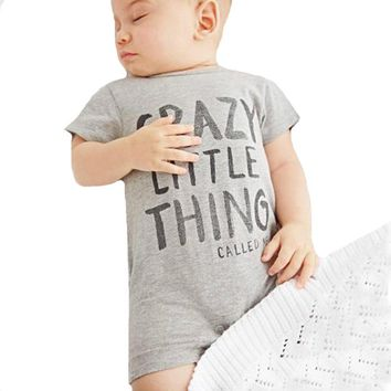Summer Toddler Boy Romper New 2017 Fashion Letter Crazy Little Thing Infant Girl Rompers Jumpsuit Short Sleeve Kids Baby Clothes