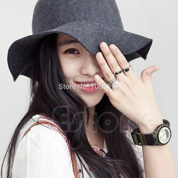 Vintage Pillbox Hat Women's Wide Brim Felt Bowler Fedora Hat Floppy Sun Fedora Cloche Cap
