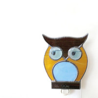 Nursery Nightlight Stained Glass Night Light Owl Brown Blue Boy Nursery Handmade OOAK