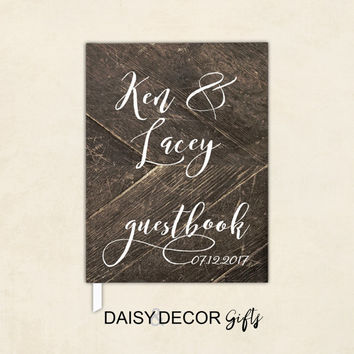 Wedding Guestbook, Guest Book, 5x7 8x10 Wedding Journal Personalized Wedding Gustbook Custom Rustic Wood Guestbook Keepsakes Sign in