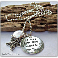 Hand Stamped Footprints in the sand necklace - personalized with it was then I carried you