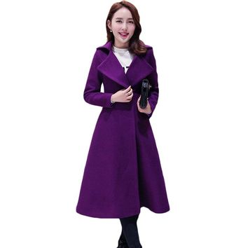 Wool Blend Coat Women 2017 Spring Autumn Fashion Slim Long Cashmere Outwear Female Casual Office Lady Temperament Overcoat XH949