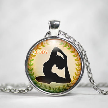 Yoga Pose Pendant necklace Posture Meditation Spiritual Exercise Body Life Balance Photo Glass Art Pendant