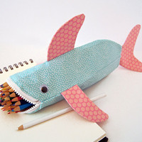 Shark Pencil Case - Fun Zipper Pouch - Unique Kids Gift Idea: Beach Bubbles Shark Bite