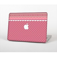 The Pink & White Polka Dot Pattern V4 Skin Set for the Apple MacBook Air 11""