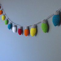 Crochet christmas lights- string of lights- christmas garland FREE US SHIPPING