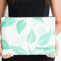 Carry-All Pouch or Laptop Sleeve - Mint and White - Canvas-like fabric, Travel, Pocket, Leaves, Traveler, Custom, Carry, Cosmetic, Make-up