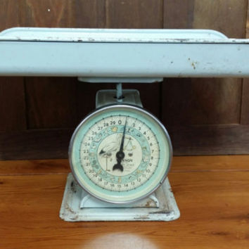Vintage Mid Century Chippy Blue 30 lb Hanson Baby Scale Stork Graphic Great Nursery Decor Photo Prop
