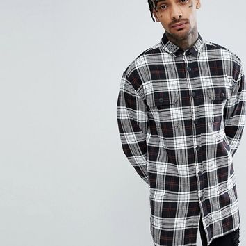 ASOS Oversized Longline Check Shirt at asos.com