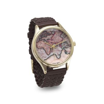 Brown Braided Leather Map Watch
