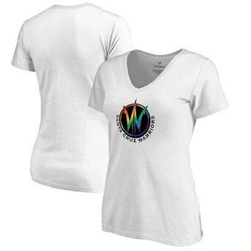 Licensed Sports Santa Cruz Warriors Fanatics Branded Women's Team Pride V-Neck T-Shirt - White KO_20_2