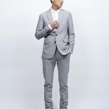 Shades of Grey Slim Fit Suit Trousers - Grey Linen – Revolver