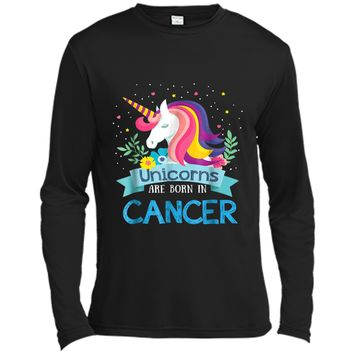 Unicorns are born in Cancer Birthday Rainbow Gift Long Sleeve Moisture Absorbing Shirt