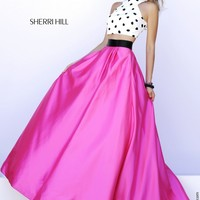 Sherri Hill 32210 Fuchsia Two-Piece Polka Dot Crop Top Ballgown Skirt