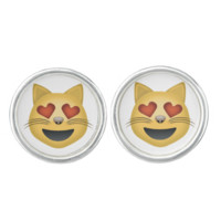 Smiling Cat Face With Heart Shaped Eyes Emoji Cufflinks
