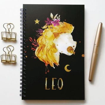 Writing journal, spiral notebook, bullet journal, black sketchbook, cute notebook, blank lined grid, zodiac sign, astrology - Leo