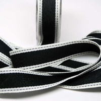Sold Color Band Ribbon with Stitched Edge -- 1 inch -- Black Cream -- 2 yards