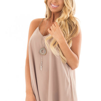Taupe Flowy V Neck Tank Top