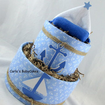 Nautical Diaper Cake, Boy Diaper Cake, Baby Diaper Cake, Baby Shower Centerpiece, Whale Diaper Cake, New Baby Gift, New Mom Gift, Mom to be