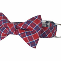 Red Plaid Bow Tie Dog Collar