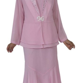 Hosanna 5144 Plus Size 3 Piece Set Pink Tea Length Dress