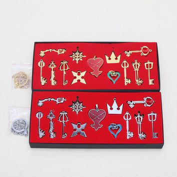 13pcs/lot Kingdom Hearts Cosplay Necklace Sora Keyblade Keychain Metal Figure Toy Pendants approx 3 - 5.5cm