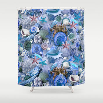 Healing Blue Starfish and Seashells Shower Curtain by DMiller